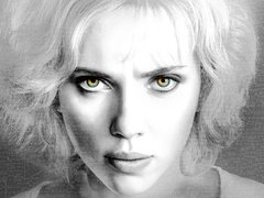 [Poster for Lucy with Lucy, Luc Besson, Scarlett Johansson, Morgan Freeman, Min-sik Choi]