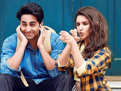[Poster for Meri Pyaari Bindu with Meri Pyaari Bindu, Ayushman Khurana, Parineeti Chopra, Akshay Roy]
