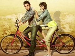 [Poster for PK with PK, Aamir Khan, Anushka Sharma, Rajkumar Hirani]